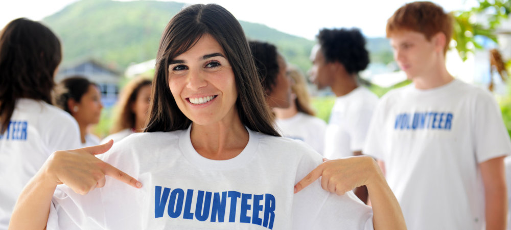 happy female volunteer